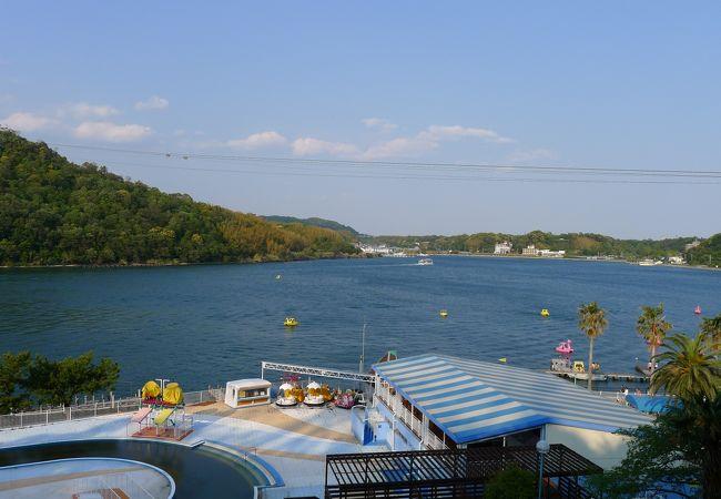 浜名湖パルパルから見た舘山寺付近の浜名湖