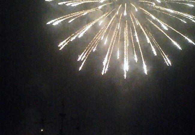 湖に映える素敵な花火です