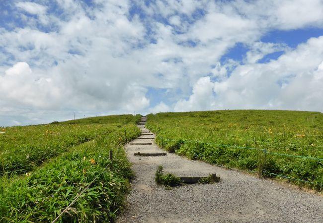 まるで青空に続いているようなハイキングルート