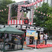 北海盆踊りの櫓が大通公園に出現