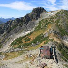 雄山へ登る道から見下ろした一ノ越山荘