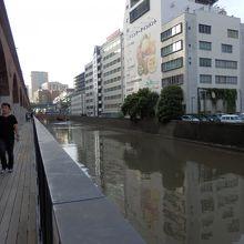 雨後の神田川。周りの建物から未処理の下水が流れます。