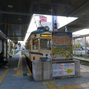 JR高知駅前にある土佐電鉄路面電車の電停