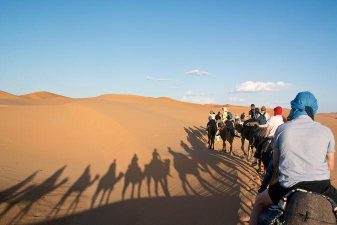 ラクダに乗って砂漠を進む