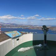 室蘭港、白鳥大橋、室蘭岳(鷲別岳)、有珠山、羊蹄山、駒ケ岳など360°のパノラマ