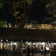 大きな木のあるレストラン