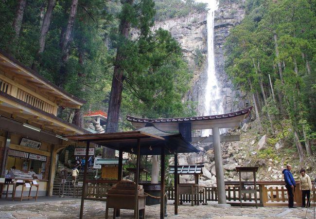 飛竜神社の鳥居と那智の大滝