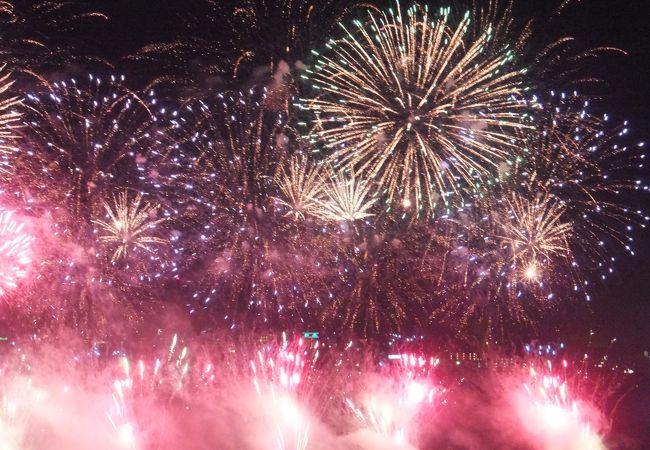 黄門祭りは千波湖の花火大会で始まります。