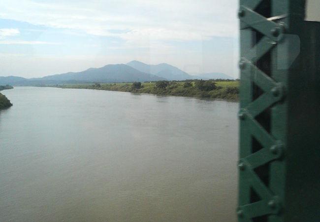 信濃川から分かれてJR越後線と交差する川