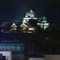 きれいにライトアップされた熊本城