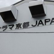 京都の街のジオラマに本物の機関車の運転席でモニターを見ながら楽しめる