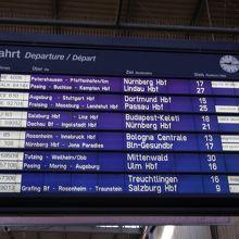 ミュンヘン中央駅の発車案内板