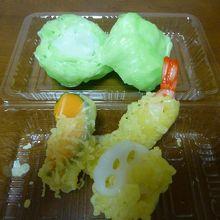 天ぷら3種+レタス