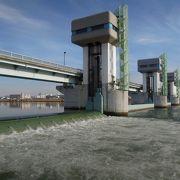 淀川大堰では堰で泡立つ淀川の水の変化を楽しめます