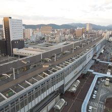 部屋から見た岡山駅