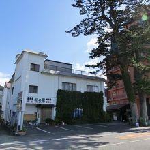 店の前にある大きな松の木が目印。