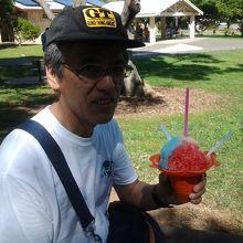 ダイヤモンドヘッドで食べたハワイアン風氷。美味しかった。