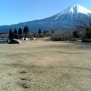 富士の写る湖面の前に、緑の芝生が広がる。