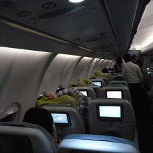 オーロラ出現時の機内の様子
