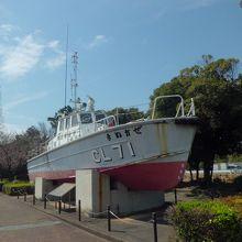 前に展示されている巡視艇