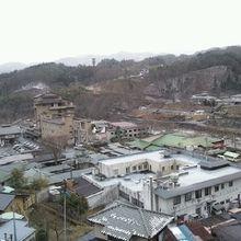 部屋からの眺めです。温泉街、川が見えます。