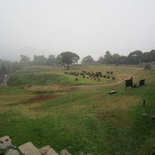 急な石段を上ったところから見た山中御殿跡の全景。広い!