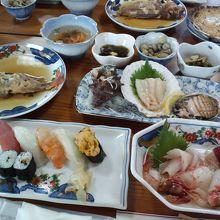 津軽小泊館の夕食(追加料理含む)