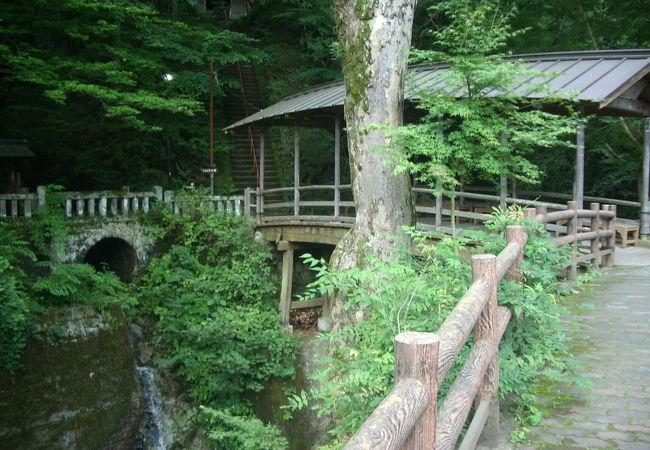 木立に囲まれた渓流の上の絶好のお休み処