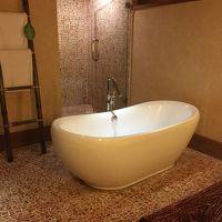 バリのホテルはバスルーム広い。ここも広いが真ん中デ〜ンとバス