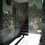参道付近にある大黒アパートの素敵なモザイク壁画