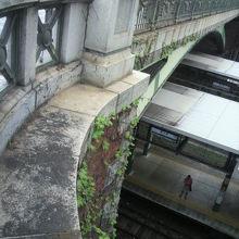 四ッ谷見附橋の煉瓦造りの基礎部分とJR四ッ谷駅ホームが見えま