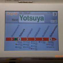 中央快速線に乗り、四ッ谷に近づくと次の停車駅は、四ッ谷と表示