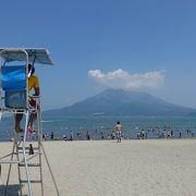正面に桜島を見ながら泳げます