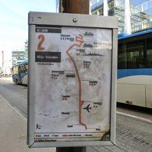 2番系統の路線図。バスターミナルを通ります