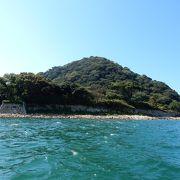 海から見る萩城本丸の石垣に満足