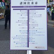 諸国往来市では各地の名物が売られています