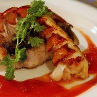 白身魚の茸風味焼きとオマール海老
