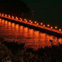 ライトアップされた幻想的な竹島橋