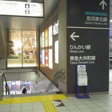 りんかい線、東急線への案内看板