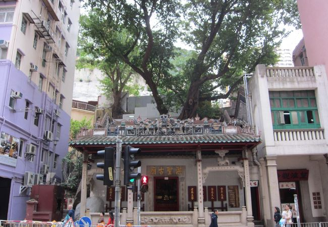 オーラのある建物で廟の上には樹木が生えています。