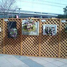 広い屋外スペースに花の季節にぴったりの作品達の展示