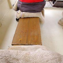 萩八景遊覧船の座る部位です。