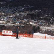 不自然な人口雪のみのスキー場