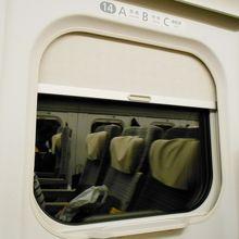 窓のシェードは飛行機みたい