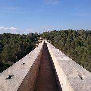青空と緑に包まれ一直線に続く水道橋
