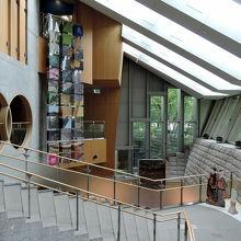傾斜地に建つ北区飛鳥山博物館のエントランス