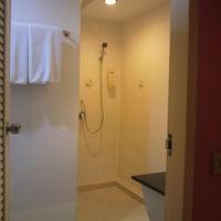 客室からバスルームのシャワー区画を見ている様子です。