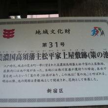 津の守弁財天に、松平摂津守上屋敷跡との標識が掲げられています