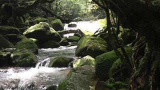 白谷川の清流、重なり合ったあった巨岩の素晴らしい景観
