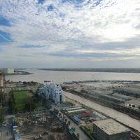 朝食会場23階からの展望。メコン川が一望です。